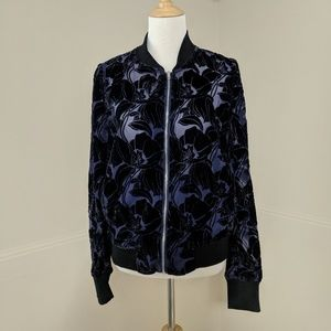Neiman Marcus Velvet Burnout Sheer Bomber Jacket